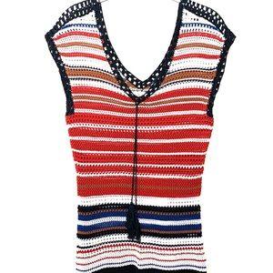 Vintage Black, White & Rust Sweater Vest / Size M